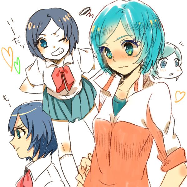 Tags: Anime, Looking Away, Blue Skirt, Inazuma Eleven GO, White Legwear, Sorano Aoi, Pixiv Id 140142