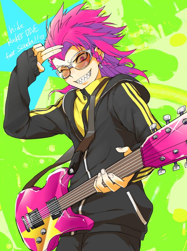 Tags: Anime, Pixiv Id 3114136, Super Danganronpa 2, Souda Kazuichi, Bass Guitar, Open Hoodie, Pixiv, Fanart, Mobile Wallpaper, Fanart From Pixiv, PNG Conversion
