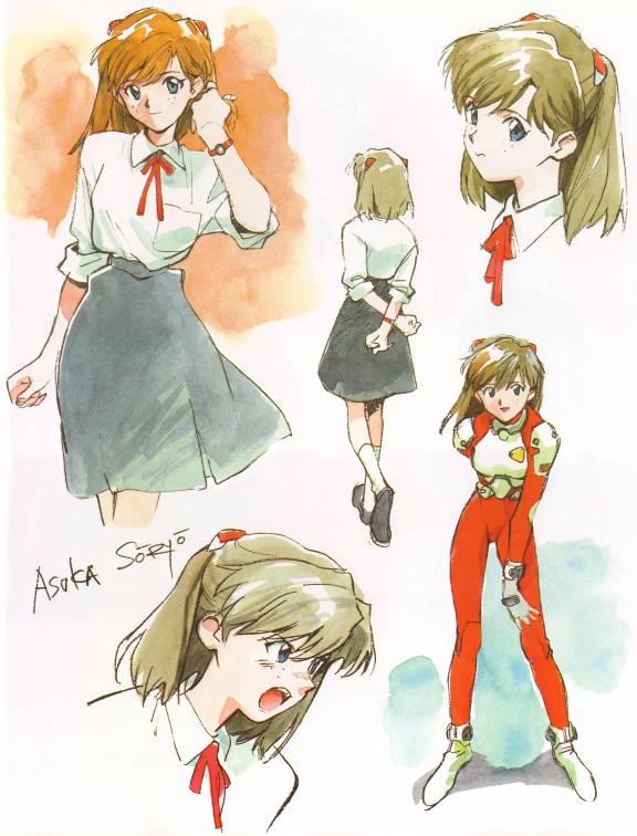 Tags: Anime, Yoshiyuki Sadamoto, Neon Genesis Evangelion, Der Mond, Souryuu Asuka Langley, Official Art, Asuka Langley Soryu