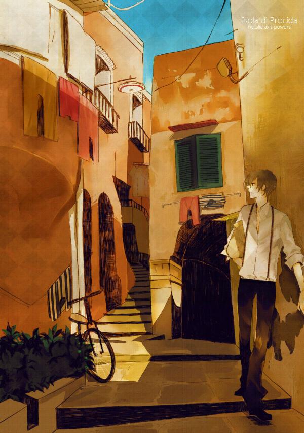 Tags: Anime, Toma-toma-tomato, Axis Powers: Hetalia, South Italy, Italian Text, Alley, Pixiv, Fanart, Mobile Wallpaper, Mediterranean Countries, Axis Power Countries