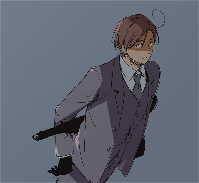Tags: Anime, Pixiv Id 3729696, Axis Powers: Hetalia, South Italy, Gray Outfit, Mafia, Pixiv, Fanart, Mediterranean Countries, Axis Power Countries