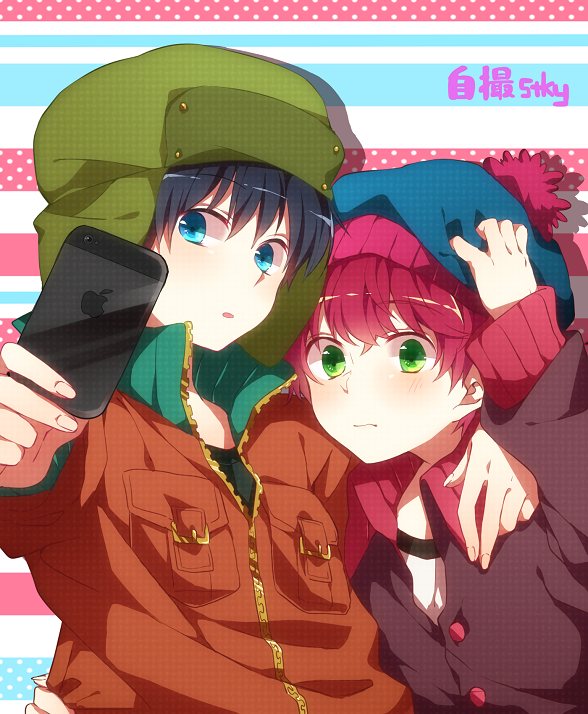 Tags: Anime, Suisyounohosizora, South Park, Stanley Randall Marsh, Kyle Broflovski, iPhone, Fanart From Pixiv, PNG Conversion, Pixiv, Fanart, Style (South Park)