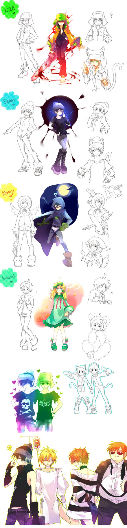 Tags: Anime, Saru (Pixiv1267140), South Park, Stanley Randall Marsh, Eric Theodore Cartman, Raven (South Park), Kyle Broflovski, Leopold Stotch, Mysterion, Kenneth McCormick, Marjorine, Chainsaw