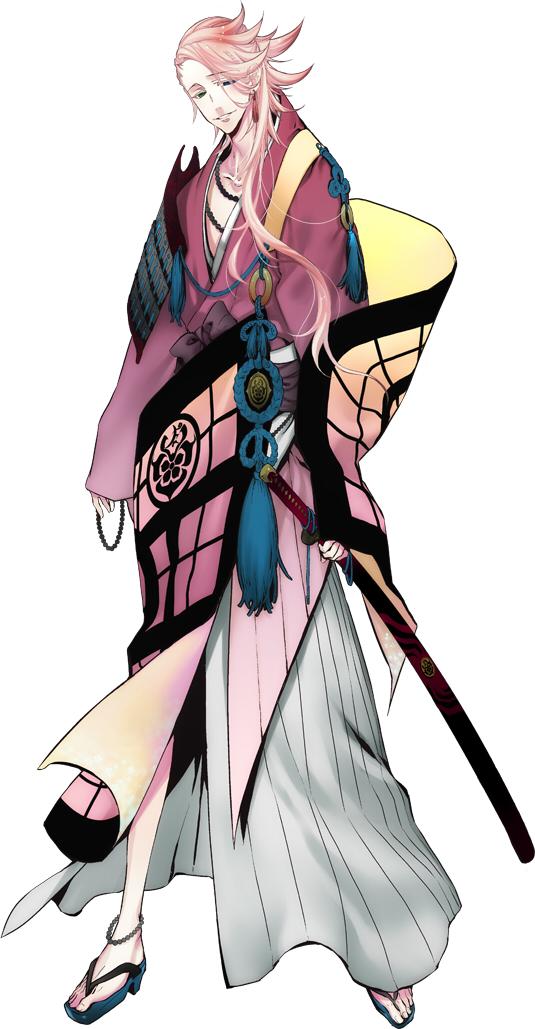 Tags: Anime, Suzuki Jirou, Nitro+, Touken Ranbu, Souza Samonji, Asymmetrical Clothing, Uchigatana, Japanese Armor, PNG Conversion, Official Art, Cover Image