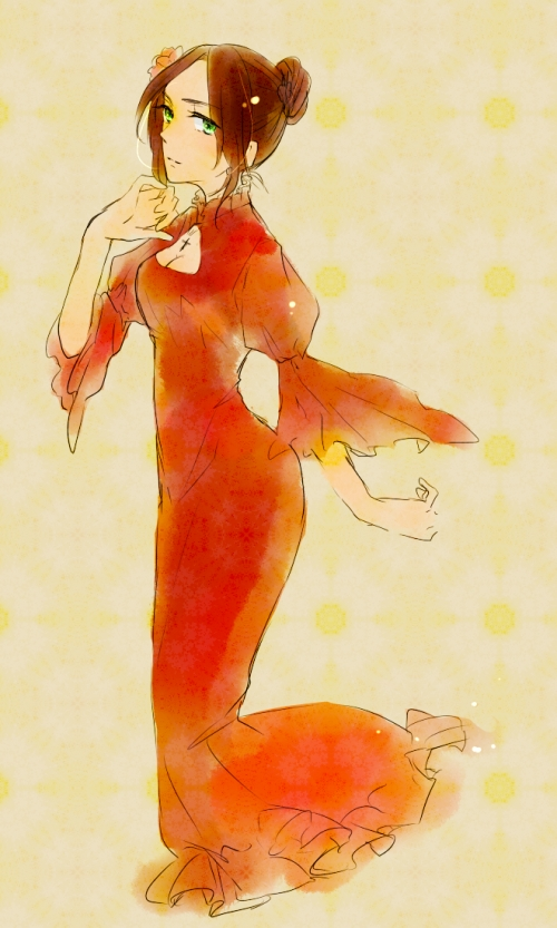 Tags: Anime, Pixiv Id 2054542, Axis Powers: Hetalia, Spain (Female), Flamenco, Nyotalia, Mobile Wallpaper