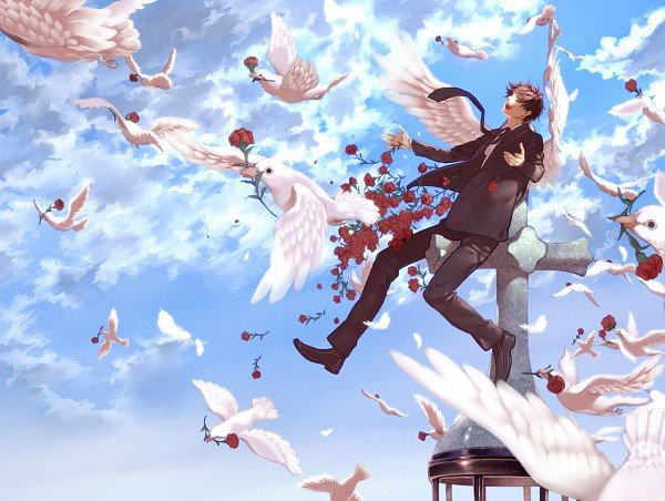 Tags: Anime, Ao (Pixiv452643), Axis Powers: Hetalia, Spain, Feather Wings, Carnation, Feather