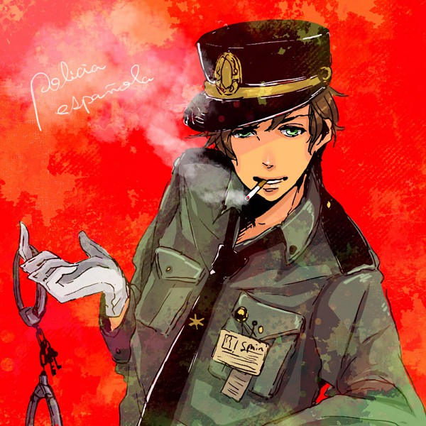 Tags: Anime, Cherryhiko, Axis Powers: Hetalia, Spain, Handcuffs, Police Uniform, Red Background