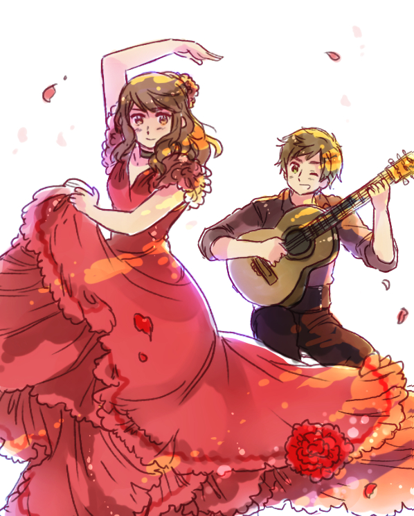 Tags: Anime, Rosel D, Axis Powers: Hetalia, Spain, Spain (Female), Flamenco, Fanart From DeviantART, Pixiv, PNG Conversion, Nyotalia, Fanart, deviantART