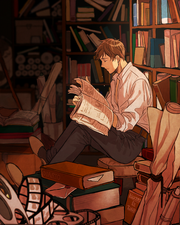 Tags: Anime, Tokuko Ma-ma, Axis Powers: Hetalia, Spain, Library, Filmstrip, Stack Of Books, Spanish Text, Stool, Fanart From Pixiv, Fanart, Pixiv, PNG Conversion