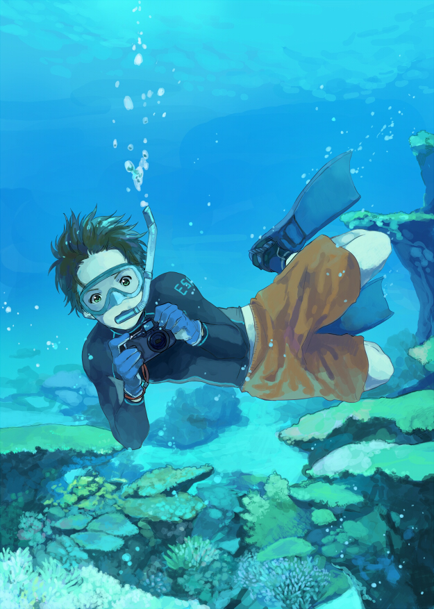 Tags: Anime, Zukki, Axis Powers: Hetalia, Spain, Snorkel, Taking A Photo, Coral, Fanart, Mobile Wallpaper, Pixiv, Mediterranean Countries