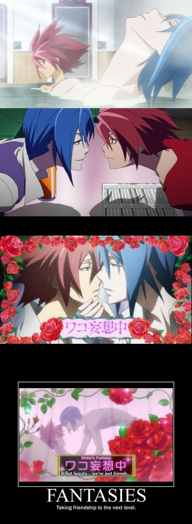 Tags: Anime, Star Driver, Shindou Sugata, Tsunashi Takuto, Demotivational Poster, Screenshot