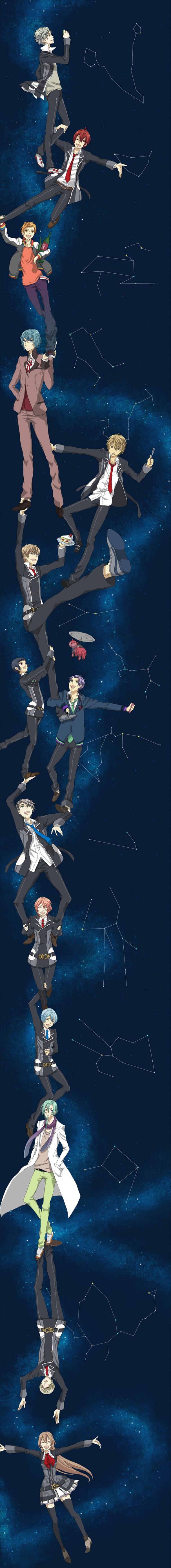 Tags: Anime, Tama (Pixiv1619557), Starry☆Sky~, Kinose Azusa, Aozora Hayato, Miyaji Ryunosuke, Hoshizuki Kotarou, Shiranui Kazuki, Nanami Kanata (Starry☆Sky), Amaha Tsubasa, Kanakubo Homare, Yahisa Tsukiko, Tohzuki Suzuya