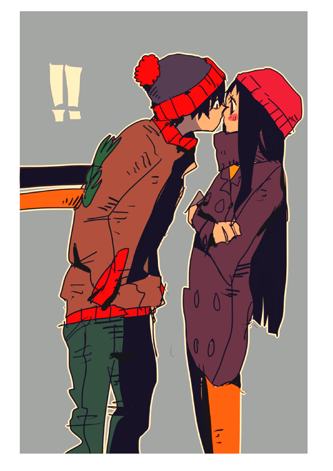 Tags: Anime, Pixiv Id 2257939, South Park, Wendy Testaburger, Stanley Randall Marsh, Fanart From Pixiv, Pixiv, PNG Conversion, Sketch, Fanart, Mobile Wallpaper, Stendy