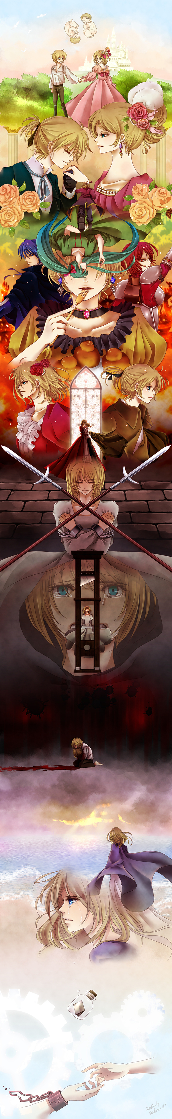 Tags: Anime, Melou, VOCALOID, MEIKO (VOCALOID), Hatsune Miku, KAITO, Kagamine Len, Kagamine Rin, Akuno-p, Story of Evil