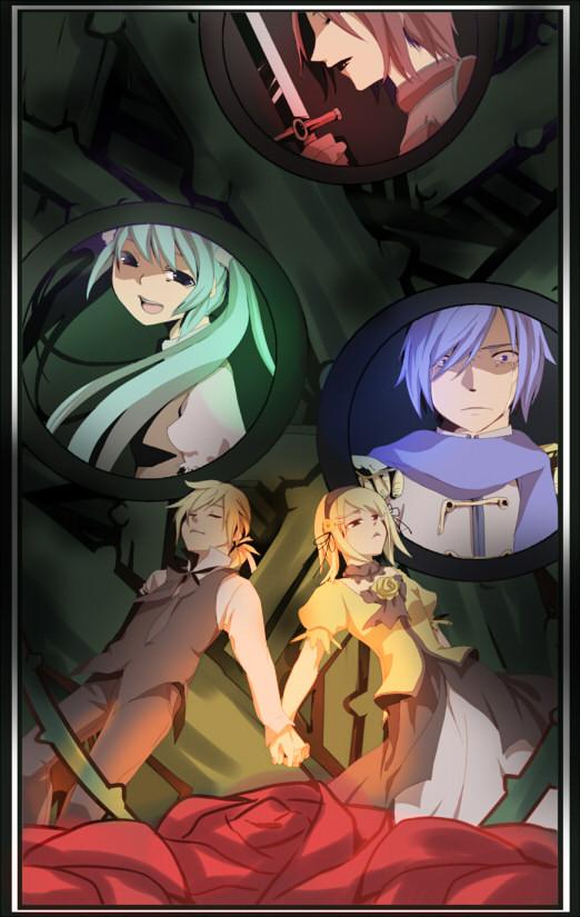 Tags: Anime, Kirato, VOCALOID, Kagamine Len, Kagamine Rin, MEIKO (VOCALOID), Hatsune Miku, KAITO, Story of Evil, Mobile Wallpaper, Akuno-p