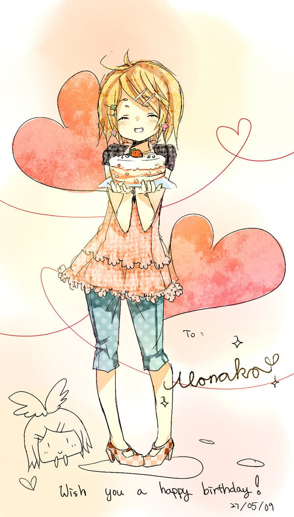 Tags: Anime, VOCALOID, Kagamine Rin, Su-Su-Su-Su Suki Daisuki, Watercolor, I Like You I Love You