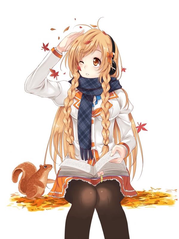 Tags: Anime, Daniwae, Suenaga Mirai, Orange Bow, Page Marker (Object), Squirrel, Culture Japan