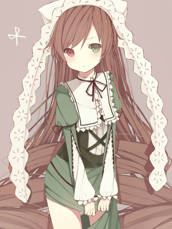 Tags: Anime, Meet Neet, Rozen Maiden, Suiseiseki, Brown Background, Scissors
