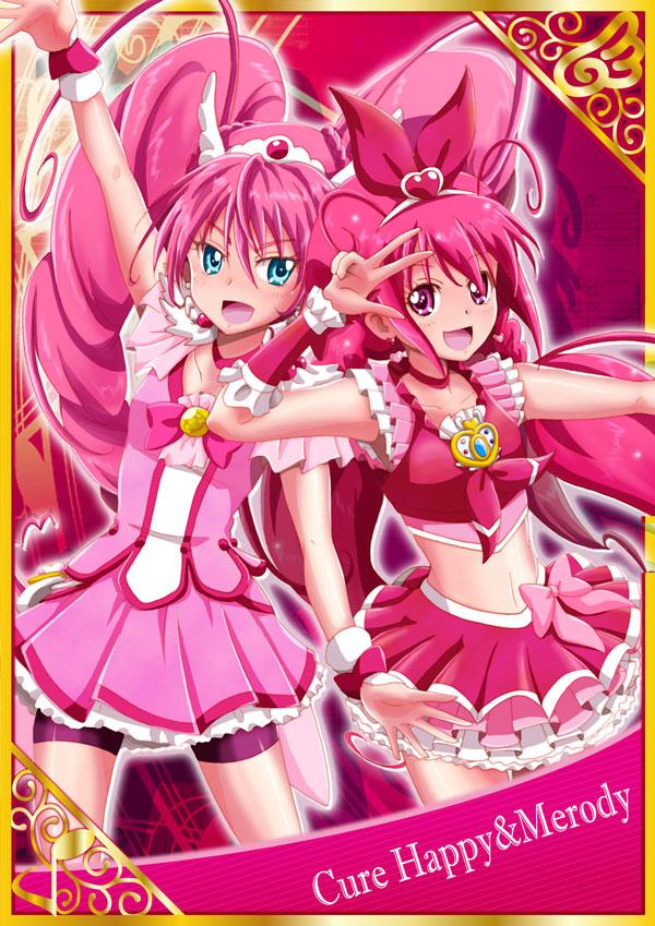 Tags: Anime, Pixiv Id 7533085, Smile Precure!, Suite Precure♪, Hoshizora Miyuki, Hojo Hibiki, Cure Happy, Cure Melody, Cure Happy (Cosplay), Cure Melody (Cosplay), Pink Shorts, Fanart From Pixiv, Pixiv
