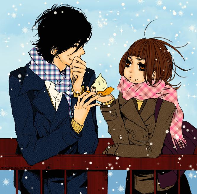 Tags: Anime, Suki-tte Ii na yo., Tachibana Mei, Kurosawa Yamato, Touching Fingers, Meat Buns, Eyes Half Closed, Colorization, Say