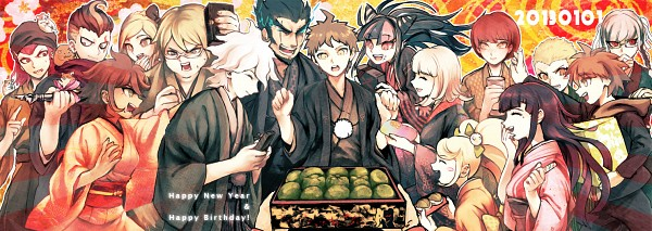 Tags: Anime, New Year, Text: Happy Birthday, Text: Happy New Year, Text: Calendar Date, Naegi Makoto, Komaeda Nagito