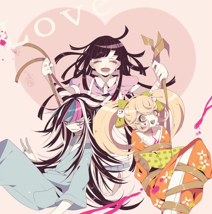 Tags: Anime, Shikimi, Super Danganronpa 2, Saionji Hiyoko, Mioda Ibuki, Tsumiki Mikan, Fanart From Pixiv, Pixiv, Fanart