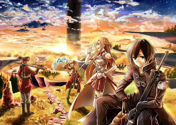 Tags: Anime, Pixiv Id 1069554, Sword Art Online, Tsuboi Ryoutarou, Ayano Keiko, Kirigaya Kazuto, Pina (Sword Art Online)
