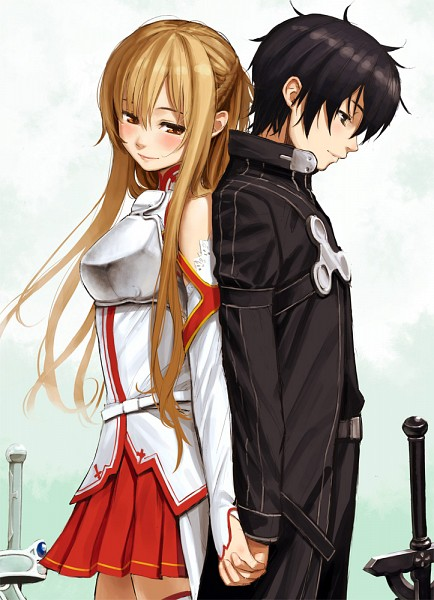 Tags: Anime, Homunculus (Pixiv 596535), Sword Art Online, Kirigaya Kazuto, Yuuki Asuna, Back to Back, Cuirass