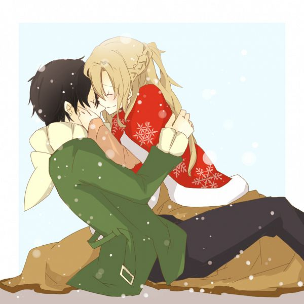 Tags: Anime, Aine (Haibane), Sword Art Online, Kirigaya Kazuto, Yuuki Asuna, Winter Outfit, Kiss On The Nose