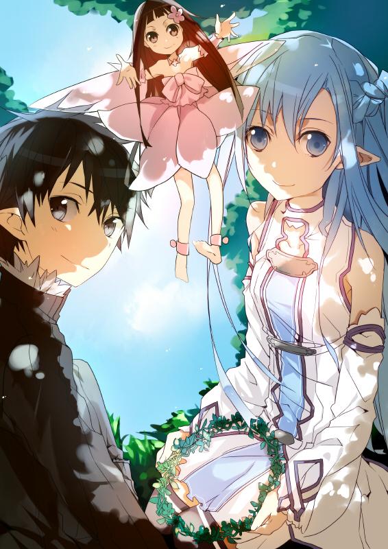 Tags: Anime, Silcener, Sword Art Online, Yuuki Asuna, Kirigaya Kazuto, Yui (Sword Art Online), Mobile Wallpaper, Pixiv, Fanart