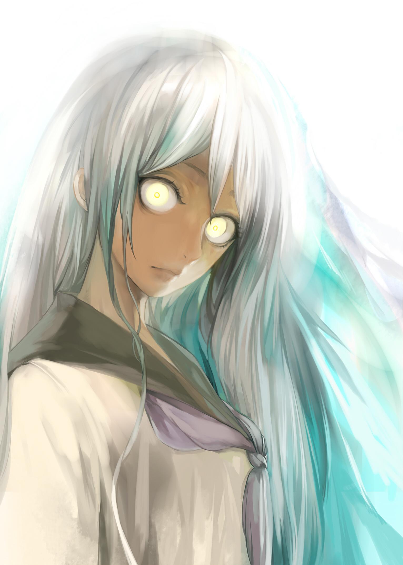 Anime girl black hair gold eyes