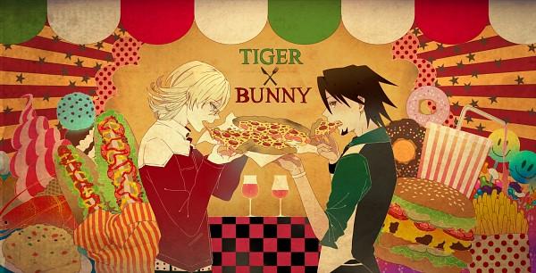 Tags: Anime, Yumecocco, TIGER & BUNNY, Kaburagi T. Kotetsu, Barnaby Brooks Jr., Pizza, French Fries