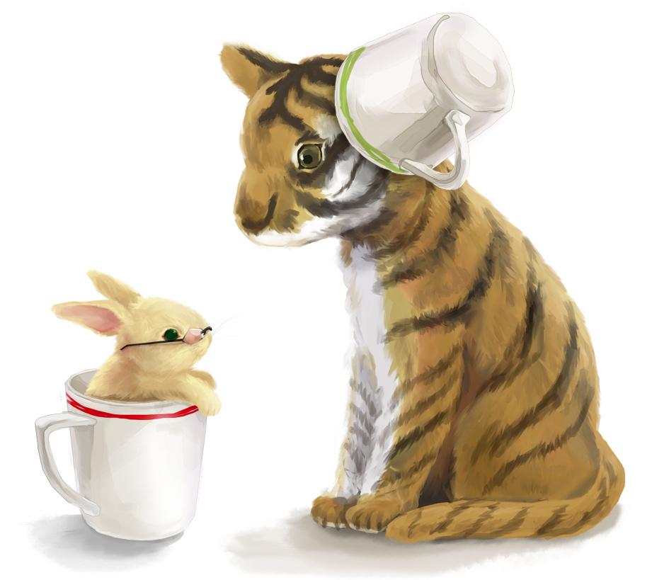 Тигр и зайка картинки