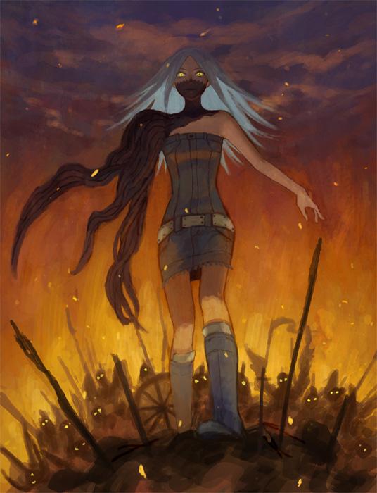 Tags: Anime, Hiko (Scape), Shin Megami Tensei III: Nocturne, Tachibana Chiaki, Unnaturally Black Skin, Destruction, Pixiv, Fanart