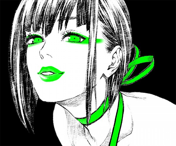 Tags: Anime, Pixiv Id 575188, GOD EATER, Tachibana Sakuya, Green Lips, Spot Color, Ribbon Choker