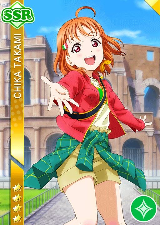 Tags: Anime, KLab, Love Live! Sunshine!!, Love Live! Sunshine!! The School Idol Movie: Over the Rainbow, Love Live! School Idol Festival, Takami Chika, Jacket Around Waist, Official Card Illustration, Official Art