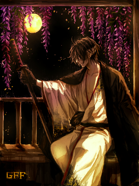 Tags: Anime, Kuro (Pixiv12803091), Gintama, Takasugi Shinsuke, PNG Conversion, Pixiv, Fanart