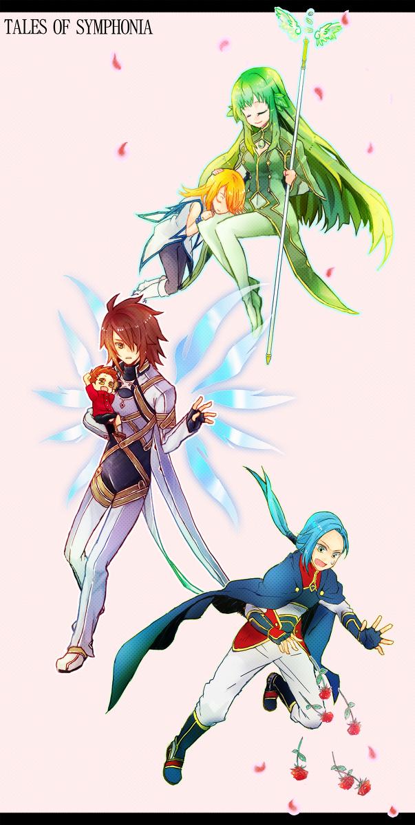 Tags: Anime, Pixiv Id 2449123, Tales of Symphonia, Martel Yggdrasill, Yuan Ka-Fai, Mithos Yggdrasill, Lloyd Irving, Kratos Aurion, Tales Of Symphonia: Dawn Of The New World