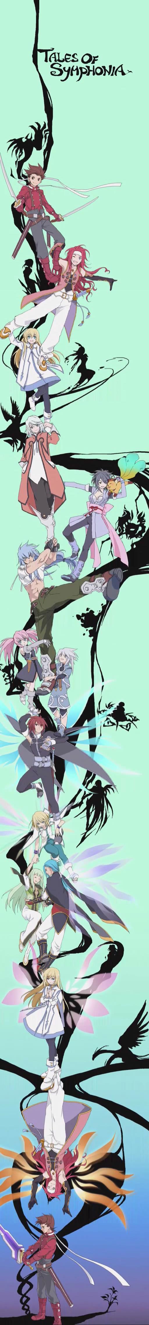 Tags: Anime, Tales of Symphonia, Presea Combatir, Yuan Ka-Fai, Raine Sage, Lloyd Irving, Mithos Yggdrasill, Genis Sage, Kratos Aurion, Corrine, Colette Brunel, Regal Bryant, Sheena Fujibayashi, Tales Of Symphonia: Dawn Of The New World