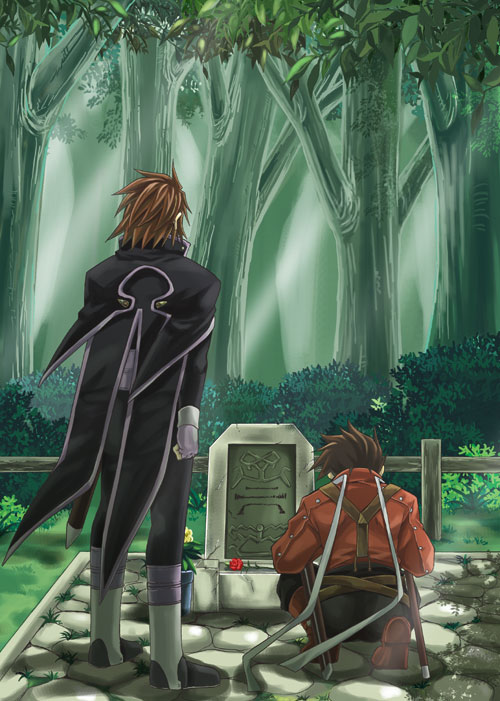 Tags: Anime, Saklo, Tales of Symphonia, Lloyd Irving, Kratos Aurion, Grave, Mobile Wallpaper
