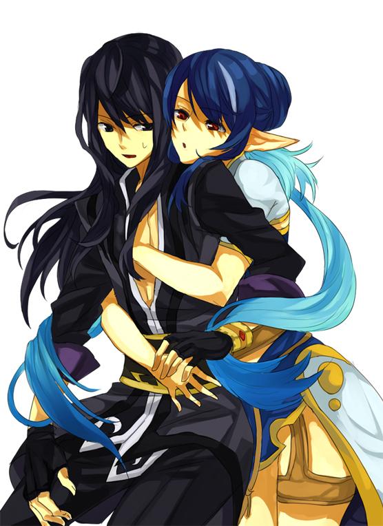 Tags: Anime, Tales of Vesperia, Judith, Yuri Lowell, Hug From Behind, Elf