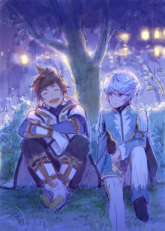 Tags: Anime, Zukki, Tales of Zestiria, Mikleo (Tales of Zestiria), Sorey (Tales of Zestiria), Sitting On Grass, Pixiv, Fanart, Mobile Wallpaper, Fanart From Pixiv