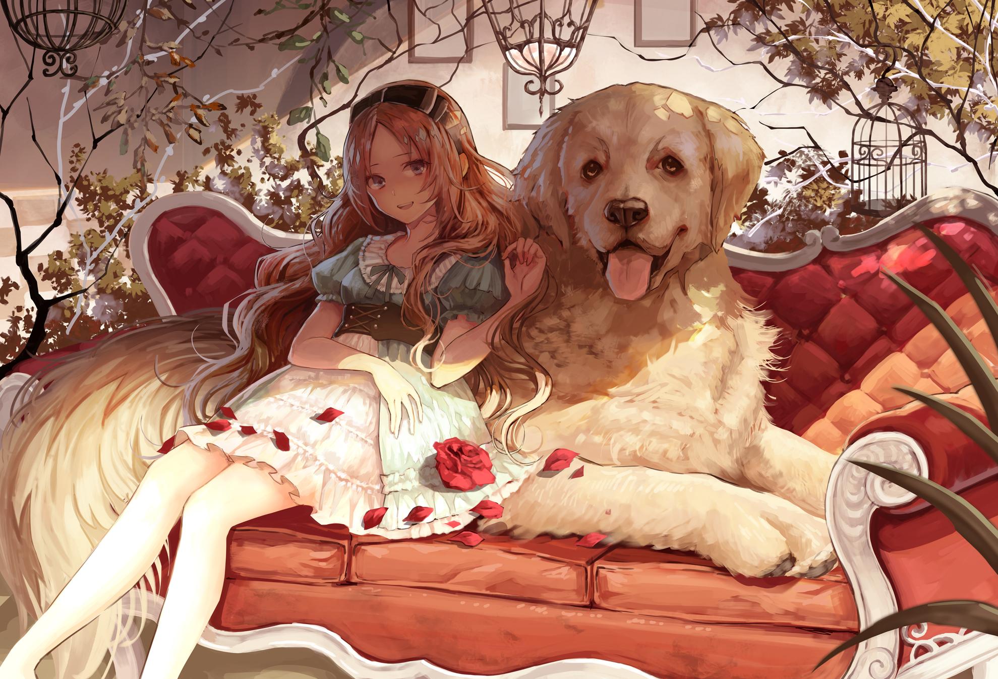 Смешные, картинки девочка с собакой аниме
