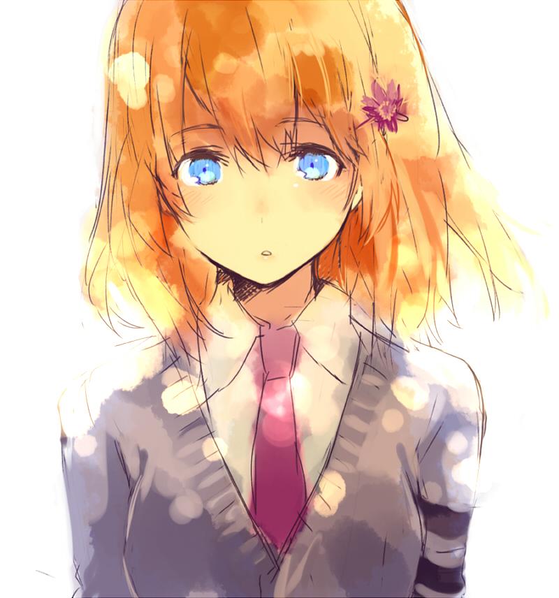 Orange hair blue eyes anime girl