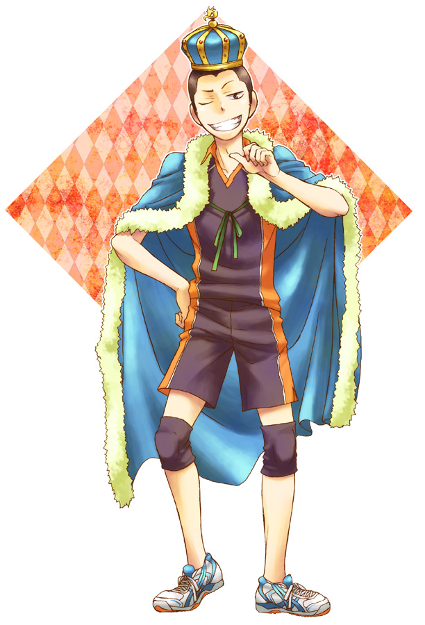 Tags: Anime, Pixiv Id 368285, Haikyuu!!, Tanaka Ryunosuke, Royal Robe, Volleyball Uniform (Karasuno High), Knee Pads, Thumbs Up, Pixiv, Fanart