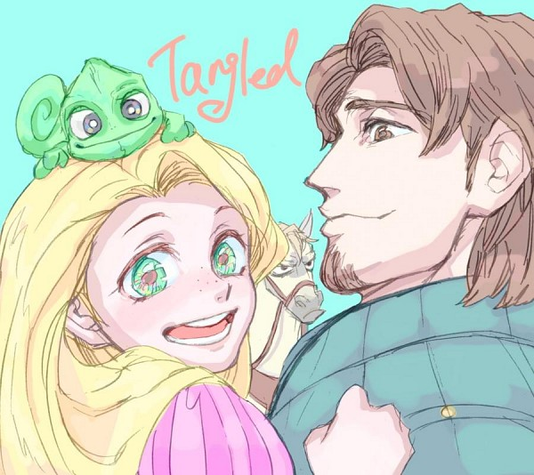 Tags: Anime, Horse, Blue Background, Rapunzel, Lizard, Disney, Grabbing
