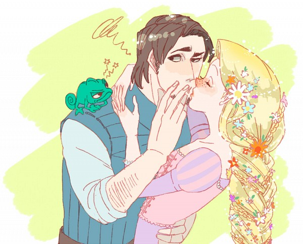 Tags: Anime, Freckles, Rapunzel, Lizard, Almost Kiss, Disney, Rapunzel (Character)