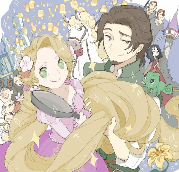 Tags: Anime, Princess, Rapunzel, Lizard, Cooking Pan, Disney, Rapunzel (Character)