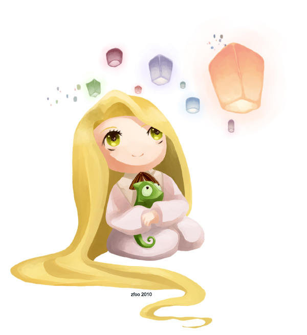 Tags: Anime, Rapunzel, Lamp, Lizard, Little Girl, Looking Up, Disney