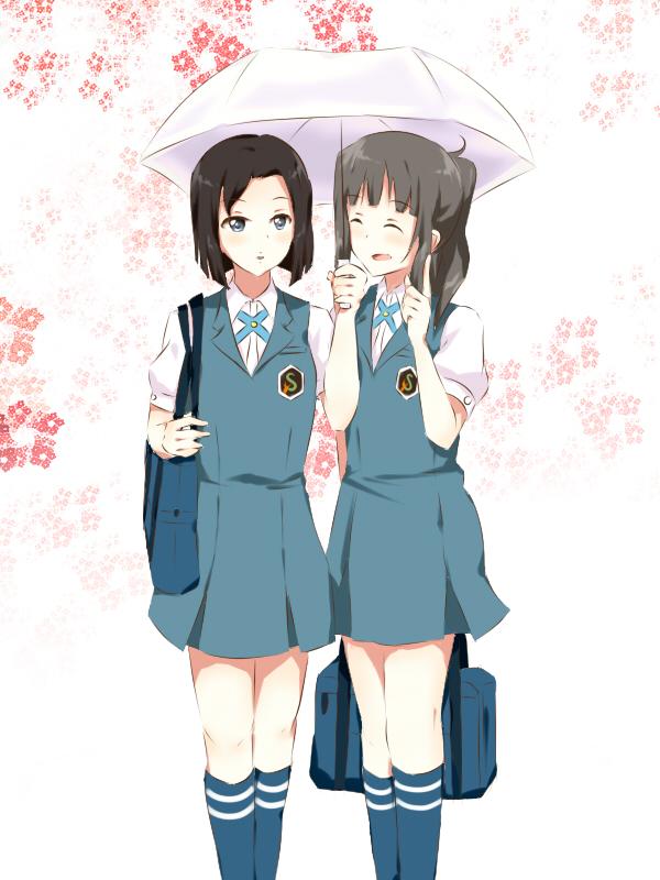 Tags: Anime, Saya (Ccmkk54), Tari Tari, Sakai Mahiru, Takakura Naoko, Ai-Ai Gasa, Holding Bag, Fanart From Pixiv, Pixiv, Fanart
